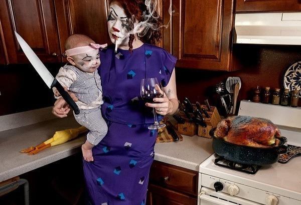 Crianças em perigo Clown Butcher faca