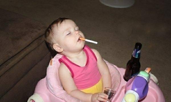 Children In Danger Smoking Drinking