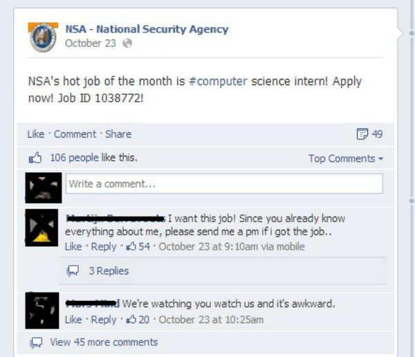 NSA Job Application Shut Down On Facebook
