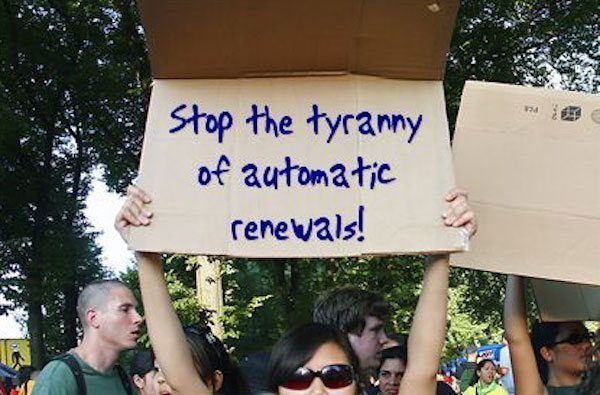 Auto Renewals Protest