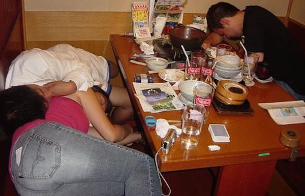 Sleeping In Restaurant