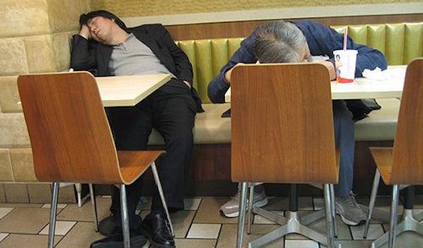 Sleeping In Tokyo Restaurant