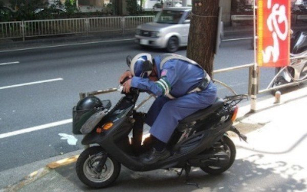 Sleeping On Moped