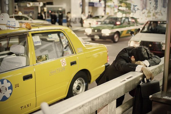 Sleeping On Street In Tokyo By Taxi