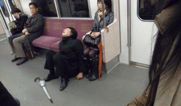 Sleeping On The Tokyo Subway