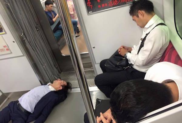 Tokyo Sleeping On Subway
