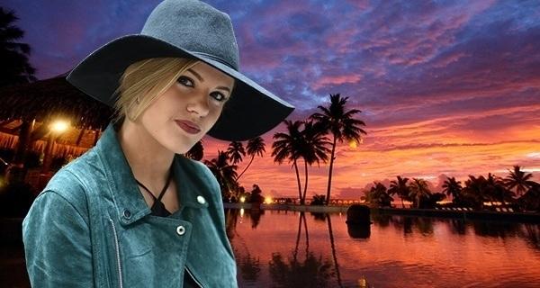 Woman Bora Bora Sunset