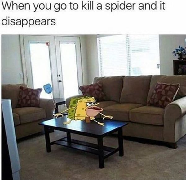 Caveman Spongebob Killing A Spider