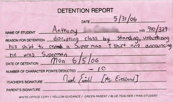 Hilarious Detention Notes