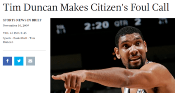 Funny Onion Headlines About Tim Duncan