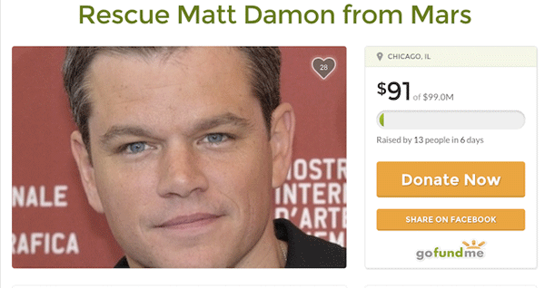 Go Fund Me Matt Damon