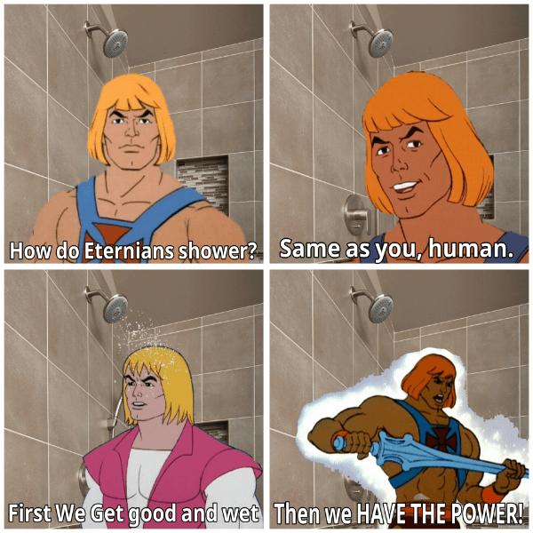 He Man Bathing
