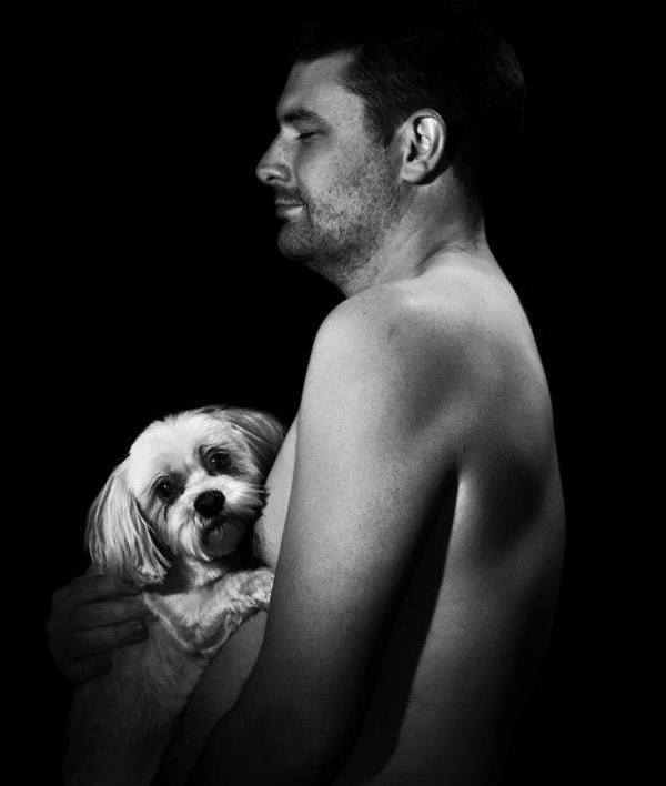 Mans Breast And Dog