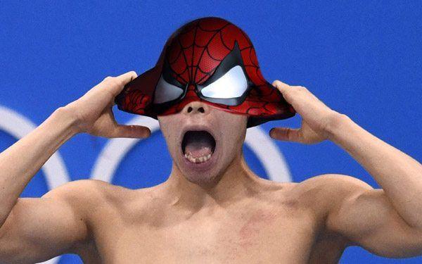 Kosuke Hagino Swimcap Spiderman