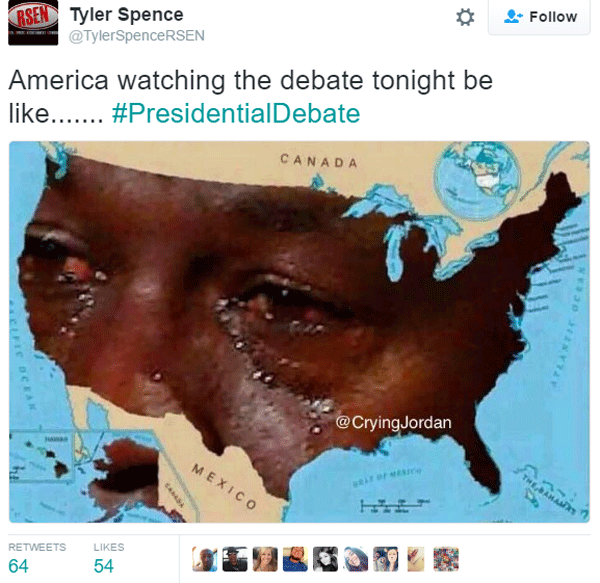 Hillary Trump Debate Crying Jordan