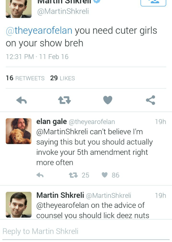 Martin Shkreli Tweets