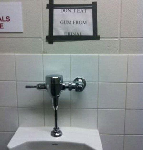 No Gum Urinal Eating