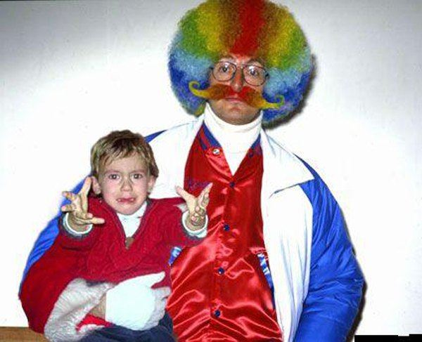 Scared Kid Afro Clown