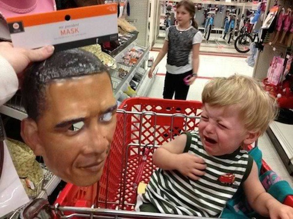 Scared Kid Obama Mask