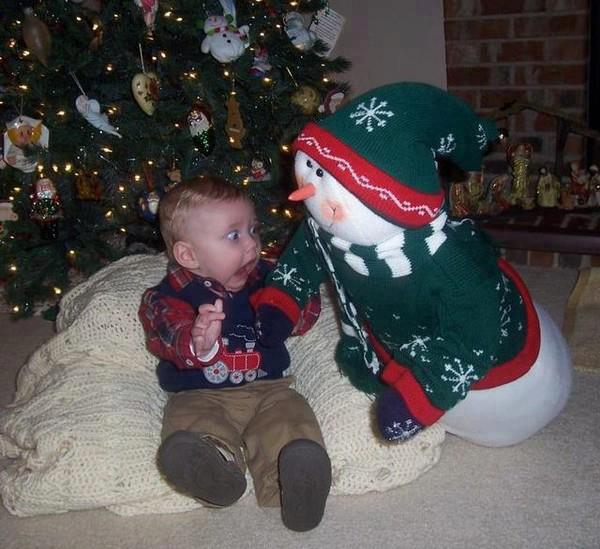 Scared Kid Snowman