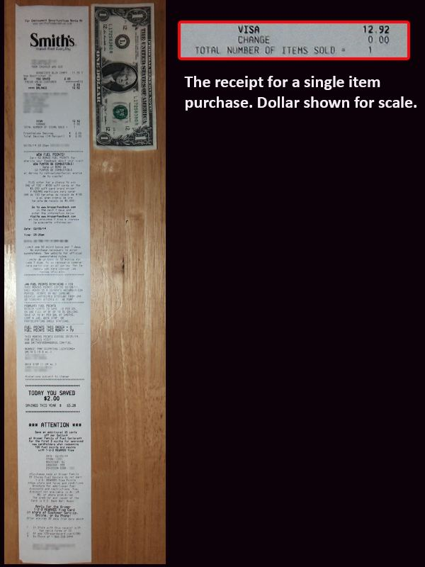 Single Item Receipt