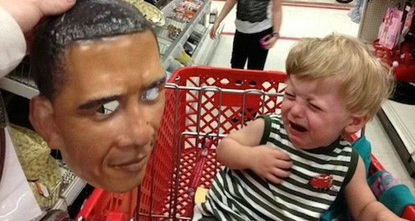 Terrified Children Obama Mask