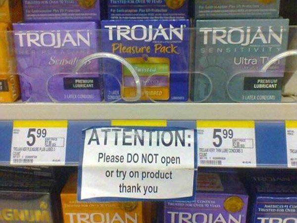 Trying On Condom Warning Sign