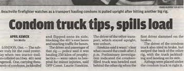 Condom Truck Spills