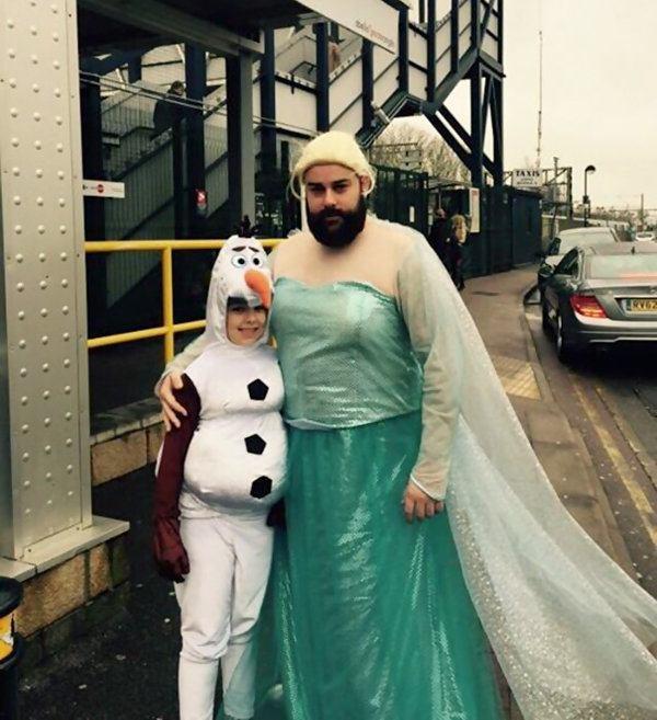 Elsa Olaf Dad Daughter Funny Dress Up