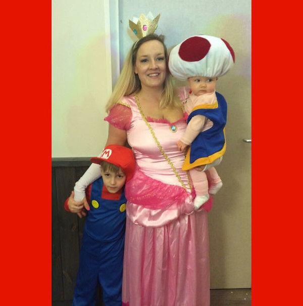 Funny Parent Children Haloween Mario Costume