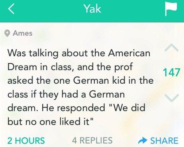 Funny Yik Yaks German