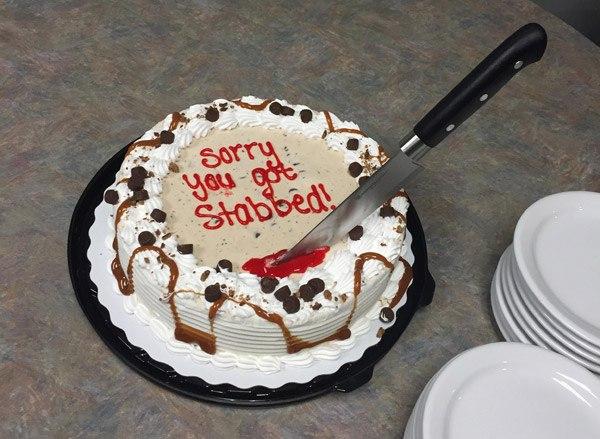 Stab Apology Cake