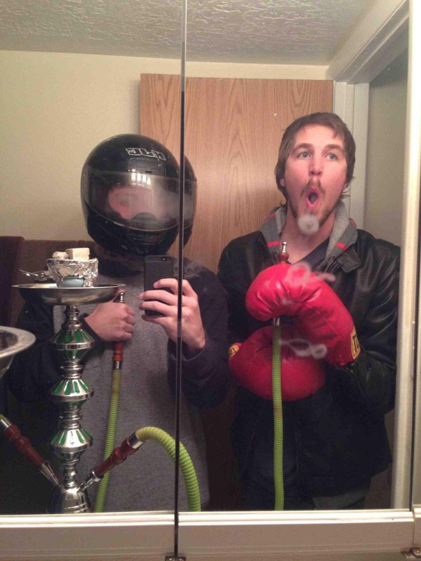 Boxing Gloves Hookah Selfie