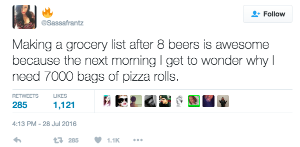 Drunk Grocery List