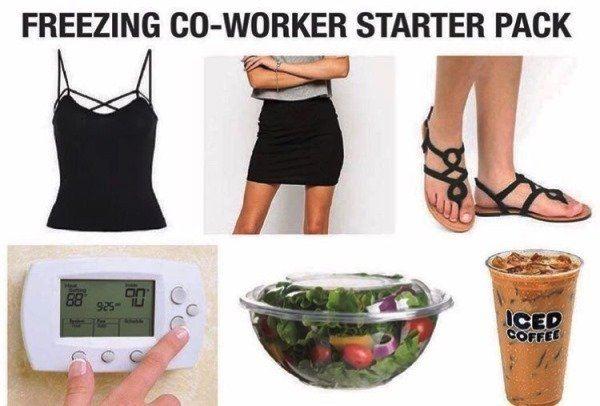 Freezing Coworker Funny Starter Packs
