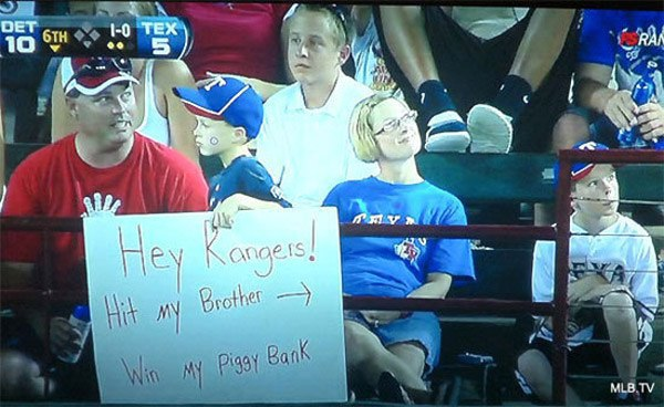 Hit My Bother Funny Sports Signs