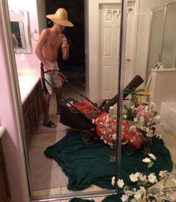 Lawn Mowing Selfie
