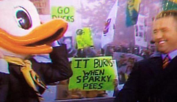 Funny Sports Signs When Sparky Pees