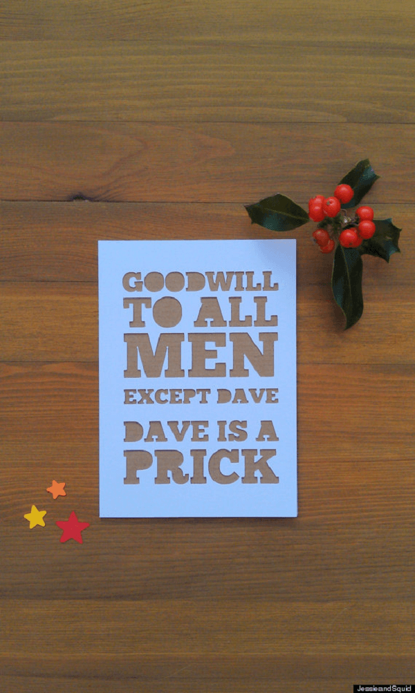 Funny Christmas Cards Dave Is A Prick