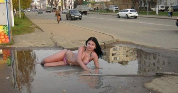 Model In Puddle