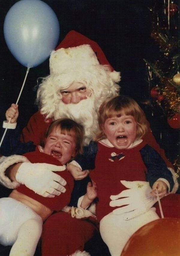 Scared Kids On A Creepy Santa