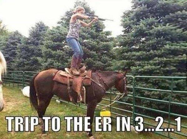 Shooting Gun On Horse