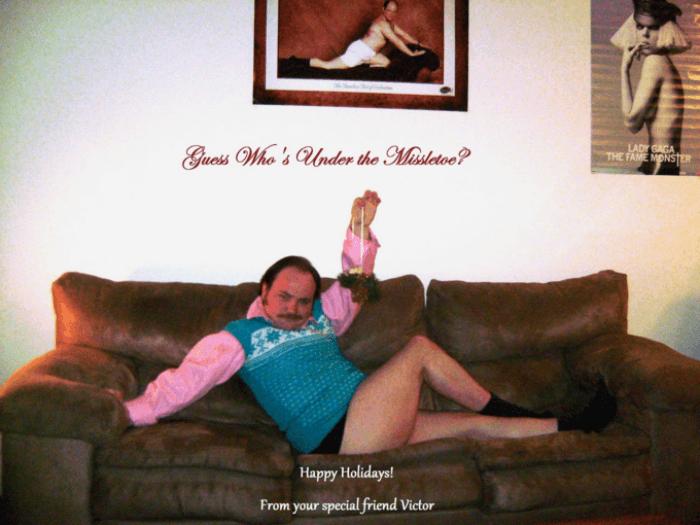 Under The Mistletoe Funny Christmas Cards