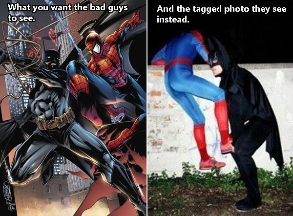 Batman Spiderman Tagged Photo Fail