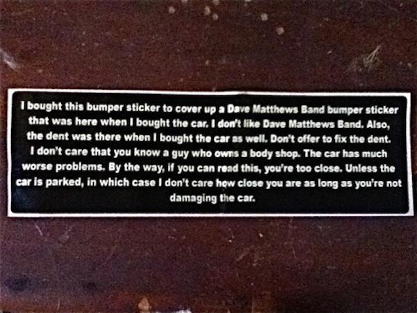 Dave Matthews Bumper Sticker