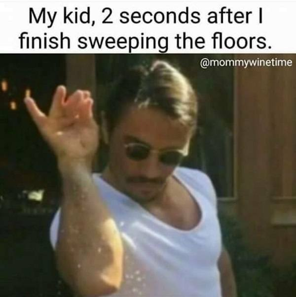 Kids After Sweeping Floors