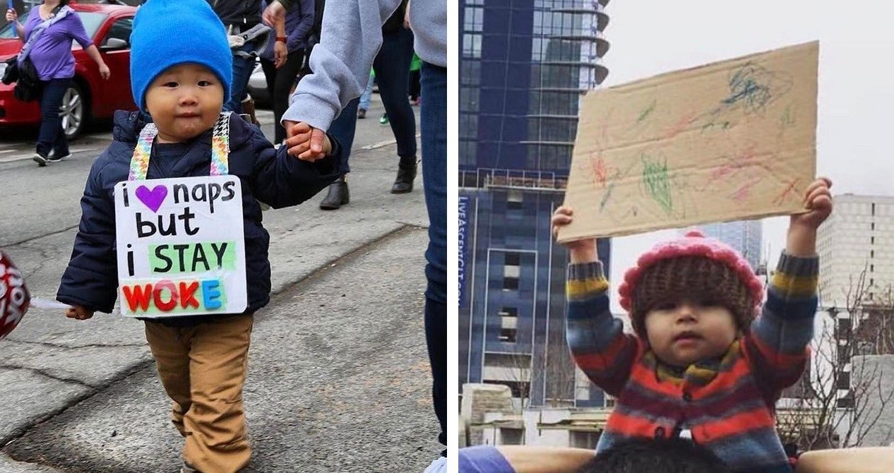 Kids At The Womens Protest