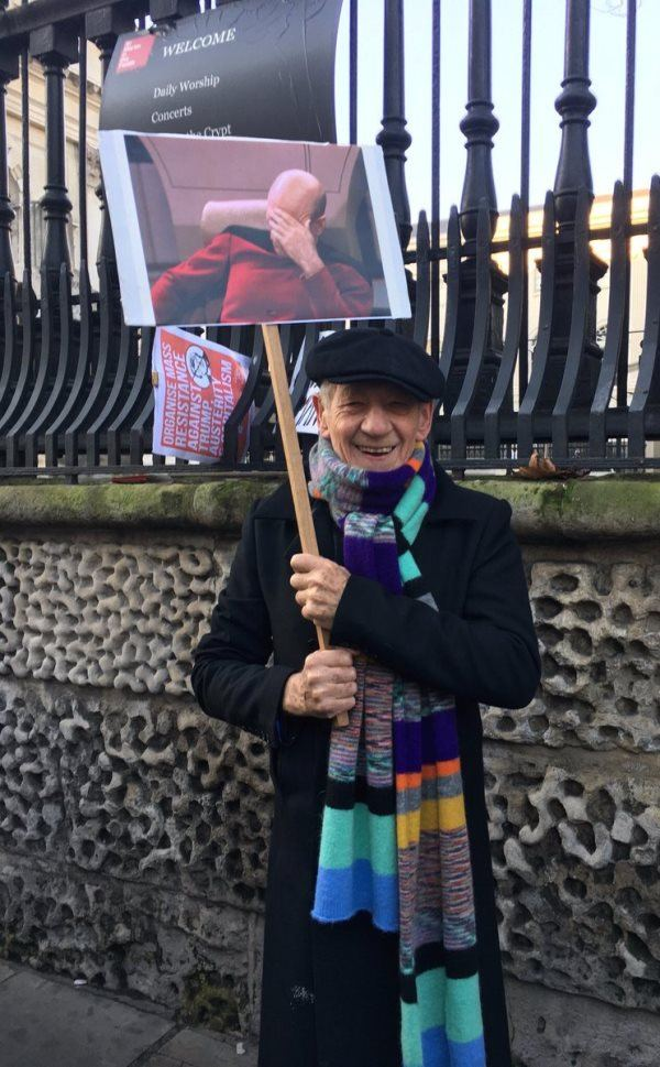 Sir Ian Hilarious Sign At Womens March