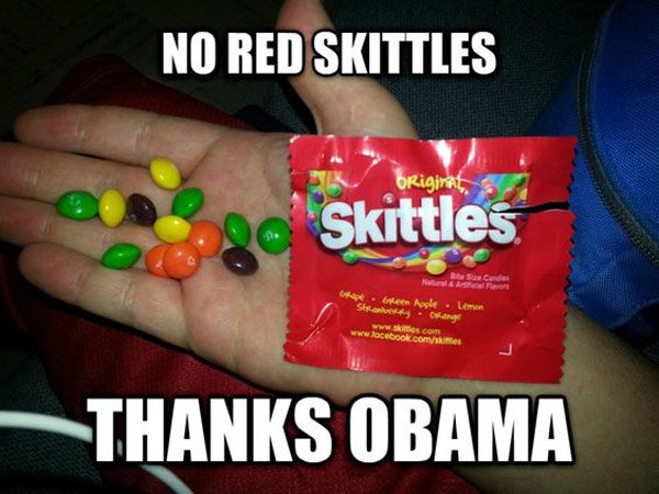 Thanks Obama No Red Skittles
