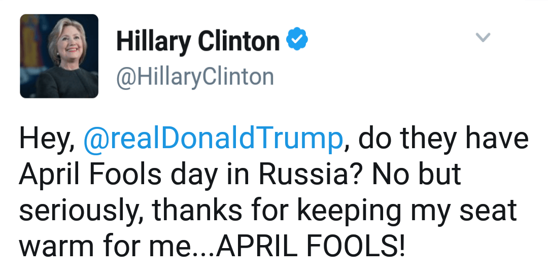 Clinton April Fools